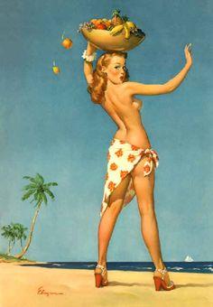 SALE - ELVGREN - Tops Em All  - Island girl pin-up - Hula - Tiki - Hawaii - Large fine  Canvas - Pinups  - Deco. $149.95, via Etsy.