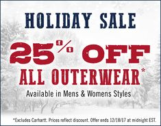 Bundle up with these once a year savings.  25% off all outerwear!  Order today and receive your order by 12/23.  Select HOLIDAY SHIP at checkout.