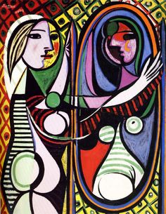 """Pablo Picasso: Girl Before a Mirror (1932)  Museum of Modern Art:    Girl Before a Mirror shows Picasso's young mistress Marie-Thérèse Walter, one of his favorite subjects in the early 1930s. Her white-haloed profile, rendered in a smooth lavender pink, appears serene. But it merges with a more roughly painted, frontal view of her face—a crescent, like the moon, yet intensely yellow, like the sun, and """"made up"""" with a gilding of rouge, lipstick, and green eye-shadow. Perhaps the p"""
