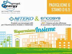 Le innovazioni nell'illuminazione LED e la novità assoluta nei sistemi di efficienza per ascensori ti aspettano al Pad. 6 stand D 6.5 di #Smartexpo  Niteko ed Encosys insieme per il risparmio!