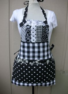 Black and White Aprons  Handmade Full Size Apron  by AnniesAttic, $44.00