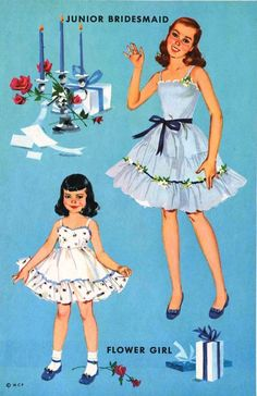 The beautiful and blue bridal set from Merrill 1955, The Heavenly Blue Wedding.  Includes 6 dolls and ...