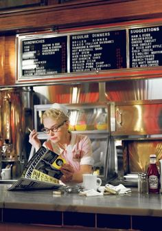 """I wish I had an awesome mom and pop diner or coffee shop I could call my """"regular haunt"""".where the waitress already knows my """"usual"""" and the """"regulars"""" all know me by name. Hd Diner, Diner Menu, Vintage Diner, Retro Diner, Vintage Signs, Diner Aesthetic, Bar, Boiled Dinner, Diner Recipes"""