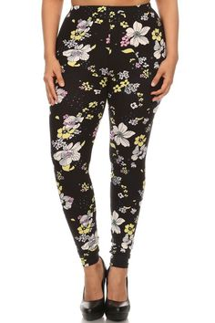 Floral Pastel Daisies Design Plus Size Leggings – Niobe Clothing