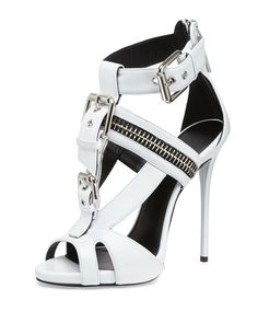 Giuseppe Zanotti Buckled T-Strap Biker Sandal, Black High Heels Stilettos, Shoes Heels, Pumps, Dream Shoes, Crazy Shoes, Jeweled Sandals, Giuseppe Zanotti Heels, Fashion Heels, Hot Shoes