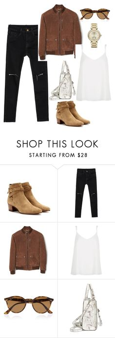 """""""Untitled #35"""" by zoemikaa ❤ liked on Polyvore featuring Yves Saint Laurent, MANGO, River Island, Ray-Ban, Rebecca Minkoff and Michael Kors"""