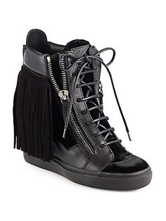 Giuseppe Zanotti Strass Leather & Suede Fringe Wedge Sneakers