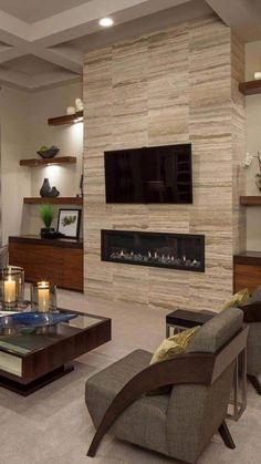 43 Best Family Decoration Ideas To Make Your Small Dream Homes Come True - Having only a small space to work with has its disadvantages. However, with a bit of focus and forethought, you can design a home office that is not o. Stone Fireplace Mantel, Linear Fireplace, Family Room Fireplace, Fireplace Built Ins, Home Fireplace, Fireplace Remodel, Fireplace Surrounds, Fireplace Design, Fireplace Ideas