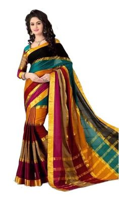 53d34c1cd83 Mutli Color Cotton Silk Pattu Saree