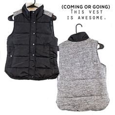 Get this must-have puffy vest for $48.50! We love that the contrasting knit panel on the back adds a little extra detail! Runs XS-L. Order via Instagram by signing up at stylerevelsocial.com!