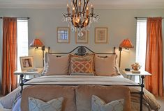 Heavenly pairing of Sherwin Williams Sea Salt with terracotta fabrics and lighting. Photo by Sarah Greenman (from Houzz.com)
