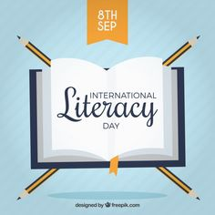 Book background with pencils for literacy day Free Vector