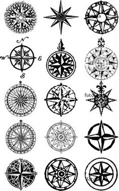 "Wall Mural ""compass, rose, map - wind roses - nautical compass vector grunge collection"" ✓ Easy Installation ✓ 365 Day Money Back Guarantee ✓ Browse other patterns from this collection! Future Tattoos, New Tattoos, Body Art Tattoos, Cool Tattoos, Tatoos, Tattoo Ink, Sextant Tattoo, Compass Vector, Compass Navigation"