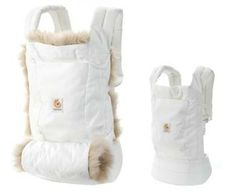 Ergobaby (www.ergobaby.com). Their new Fall/Winter 2012 collection features a Winter Edition Carrier and Hand Muff which has a quilted lining with luxurious sheepskin trim. There is also a removable quilted muff to keep your hands warm.