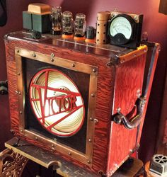 Upcycled guitar amp from 1940s Victor Animatophone movie projector