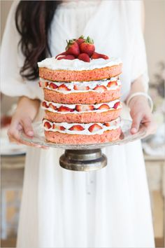 strawberry shortcake naked wedding cake #weddingcake #nakedcake #weddingchicks http://www.weddingchicks.com/2014/03/21/bright-bold-berry-wedding/