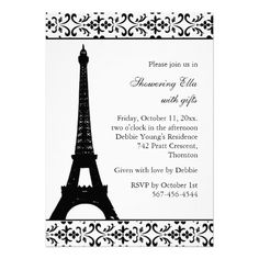 21 best paris themed bridal shower invitations images on pinterest tres paris bridal shower white invites filmwisefo