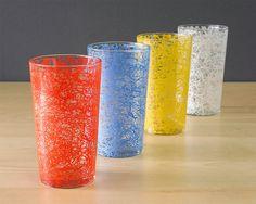 Mid Century Spaghetti Vintage Drinking Glasses Set by Retroburgh