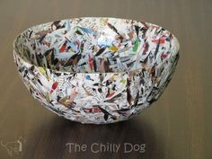 How to make a paper mache bowl with Mod Podge and recycled magazine paper - the Chilly Dog Recycled Paper Crafts, Recycled Magazines, Paper Mache Crafts, Newspaper Crafts, Recycled Crafts, Diy Crafts, Recycled Jewelry, Paper Mache Bowls, Paper Bowls