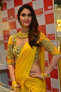 Sunny Yellow Mirror work Saree of Akansha Sharma Choli Designs, Saree Blouse Designs, Beautiful Blouses, Beautiful Saree, Beautiful Models, Beautiful Women, Indian Attire, Indian Wear, Indian Style