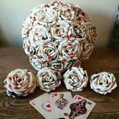 Beautiful alternative Paper Flower Bouquets Bespoke custom inspirational design bridal alice in wonderland heart playing card vegas polka queen of hearts mad hatter tea party wedding theme Origami florist Huge Collection Alternative hot new popular best t Mad Hatter Wedding, Mad Hatter Party, Mad Hatter Tea, Mad Hatters, Playing Card Crafts, Playing Cards, Flower Girl Wand, Diy Cadeau, Rockabilly Wedding