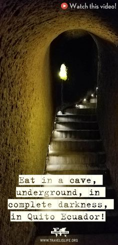 Join me at a restaurant in Quito Ecuador that's run by the blind and serves meals inside a cave underground in absolute darkness! South America Destinations, South America Travel, Travel Destinations, Travel Articles, Travel Advice, Travel Tips, Travel Videos, Travel Stuff, Travel Hacks