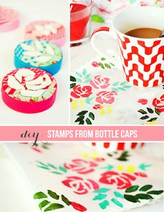 Diy Stamps from bottle caps | onceuponherdream.blogspot.com | #diy #stamp #fabric