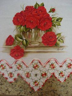 pano de copa em pintura em tecido e croche tecido 100 % algodão estilotex R$ 80,00