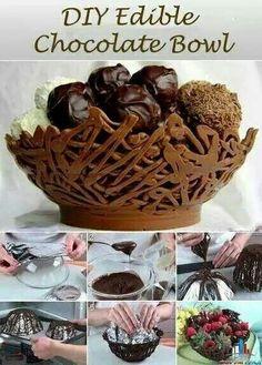 Cestino di cioccolato fuso