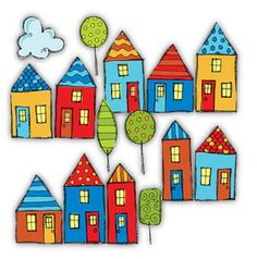 Sweet little houses to line up in a row! I can see these on thank you notes, house warming invites, even wedding shower invites! Hand drawn in pen Doodle Coloring, Colouring Pages, Zentangle, House Clipart, Clip Art Library, House Quilts, Butterfly Wallpaper, Pictures To Paint, Drawing For Kids