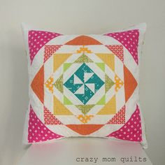 Rainbow Mosaic Pillow from Vintage Quilt Revival, made by Amanda from Crazy Mom Quilts Patchwork Pillow, Quilted Pillow, Cute Cushions, Crazy Mom, Quilting Projects, Quilting Tutorials, Sewing Projects, Vintage Quilts, Quilt Patterns