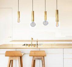 Rose gold copper tube pendant light minimal by LightCookie on Etsy