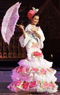 Philippine Fashion, Filipiniana Dress, Belle Beauty And The Beast, Spanish Culture, Asian History, How To Speak Spanish, Filipina, Pinoy, Pageant