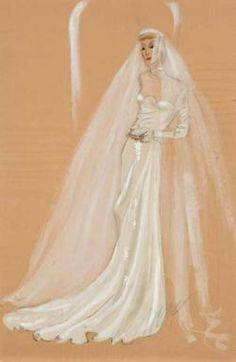 Irene costume sketch for Claudette Colbert fromThe Palm Beach Story(1942)