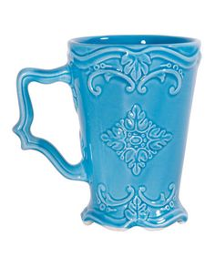 Turquoise Fancy Scroll Footed Mug by Home Essentials and Beyond