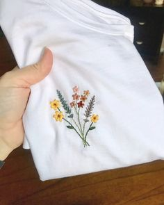 Loved this shirt so much that I made another one in a size medium. Dm me if you're interested! Loved this shirt so much that I made another one in a size medium. Dm me if you're interested! Embroidery On Clothes, Simple Embroidery, Shirt Embroidery, Embroidered Clothes, Embroidery Stitches, Embroidery Patterns, Broderie Simple, Diy Broderie, Bordados E Cia