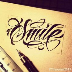 """""""Smile"""" hand lettering by theosone Tattoo Lettering Styles, Chicano Lettering, Tattoo Script, Graffiti Lettering, Script Lettering, Typography Letters, Lettering Design, Name Tattoo Designs, Letras Tattoo"""