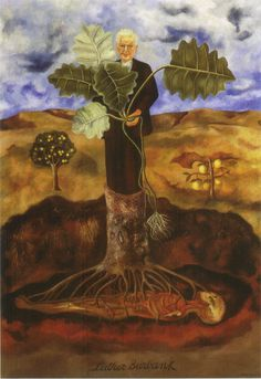 Frida Kahlo - Portrait of Luther Burbank. He was a horticulturalist who created hybrid plants and was buried under a tree in California after his death. The painting is one of Frida's themes - from death there is life.