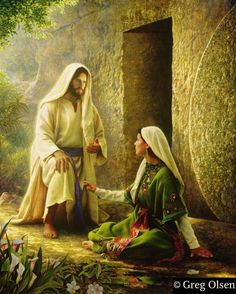 """He Is Risen"" by Greg Olsen: quote from his website ~ ""This painting reflects that belief. On that first Easter morning, the risen Lord himself reassured a sad and questioning Mary Magdalene that He is real and that yes, He lives!"""