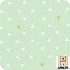 tissu coton vert pastel menthol triangle blanc meringue et or- Tissu ameublement, déco, accessoires mode, patchwork : Tissus Habillement, Déco par cousu-main-mercerie