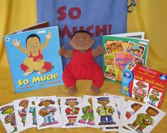 'So Much' (book by Trish Cooke, illustrated by Helen Oxenbury). I bought the (bald) doll on Ebay and spent weeks embroidering the hair with thread and black knitting yarn, and made his jumpsuit. The baby is perfect for acting out the story passing him around all the 'aunts', 'uncles' and 'cousins'! 2014 -Myatt Garden Primary School Storysacks Library