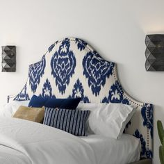 Studded Headboard, White Headboard, Queen Headboard, Panel Headboard, N21, Diy Bed, Interior Exterior, Interior Ideas, Soft Furnishings