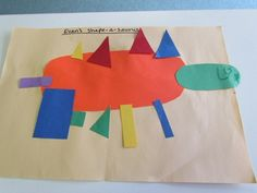 A very shapely dinosaur. Ask children to make their own dinosaur using different shapes. I like the process driven aspect of this. Preschool Projects, Daycare Crafts, Preschool Themes, Preschool Lessons, Preschool Classroom, Art Classroom, Teach Preschool, Kindergarten, Dinosaurs Preschool