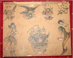Earl-Brown-hula by Vintage Tattoo Flash, via Flickr Hula Girl Tattoos, Pin Up Tattoos, New Tattoos, Flash Tattoos, Tatoos, Traditional Tattoo Reference, Grandpa Tattoo, Traditional Tattoo Flash, Vintage Flash