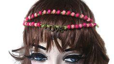 Festival Headband, Hippy Hairband,Love Beaded Crochet Halo, Green Pink Crown, Woodstock by thekittensmittensuk on Etsy