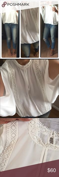 NEW 💫Ivory Cold Should Blouse Gorgeous peak a boo shoulder semi sheer Blouse. XOXO Tops Blouses