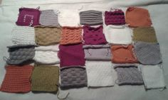 Next 6 squares of a quilt style knitted blanket/throw.