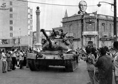 - In this on July 24, 1974 file photo a Turkish army tank passes the Saray Hotel in the Turkish section of Nicosia, Cyprus, On the roof of a nearby building is a picture of Kemal Ataturk, founder of the modern Turkish republic. The 1974 invasion was sparked by an abortive coup by supporters of union with Greece. It led to the occupation by Turkey of the northern third of Cyprus and some 200,000 Greek Cypriots fleeing or being expelled from their homes in the north. The current spat between