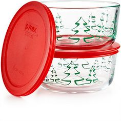 Pyrex 2 Piece 4-Cup Holiday Tree Food Container Set