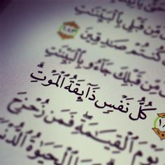 """""""Answer: """"Every soul is going to taste death. Quran Quotes Love, Funny Arabic Quotes, Wisdom Quotes, Religious Quotes, Islamic Quotes, Islamic Images, Quran Sharif, Islam Marriage, Quran Book"""